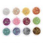 DIY 12-in-1 Heart Shape Nail Art Decoration Sequins Set - Multicolored