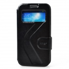 Dikuka Protective PU Leather + PC Case Stand w/ Visual Window for Samsung Galaxy S4 i9500 - Black