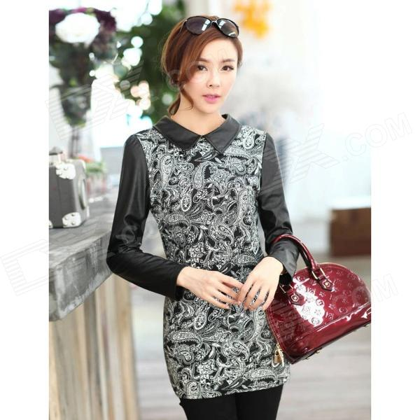 PPLYQ-01 Woman's Fashionable Retro Pattern Cotton Blending + PU Skinny Dress - Black + White (XL)