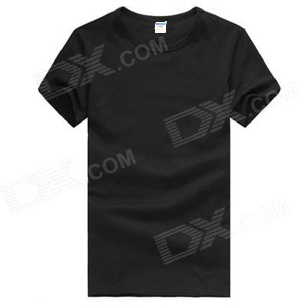 Men's Comfortable Simple Plain Cotton T-shirt - Black (L)