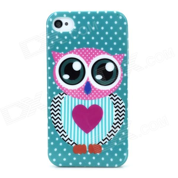 Owl Pattern Shining Protective TPU Back Case for Iphone 4S / 4 - Multicolored stylish 3d eagle pattern protective abs pc back case for iphone 4 4s multicolored