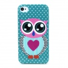 Owl Pattern Shining Protective TPU Back Case for Iphone 4S / 4 - Multicolored