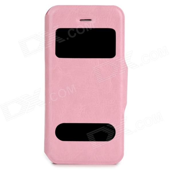 Protective PU Leather + Plastic Case w/ Dual Display Window for Iphone 5 - Pink protective pu leather plastic case w display window for iphone 4 4s maroon