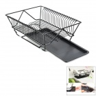Iron + PC Kitchen Tableware / Dinnerware Draining Rack w/ Tray - Black