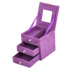 Flannelette Three Layer Jewel Case Box - Purple