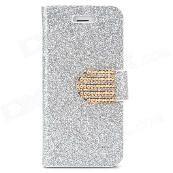 Shining Protective Flip-Open PU Leather + Plastic Case w/ Stand for Iphone 5 - Silver elegant protective rhinestone pu leather flip open case for iphone 5 5s black silver