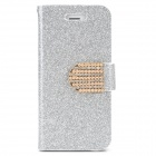 Shining Protective Flip-Open PU Leather + Plastic Case w/ Stand for Iphone 5 - Silver