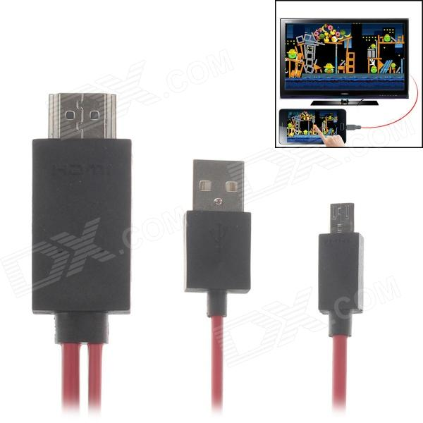 MHL Micro USB to HDMI HDTV Adapter Cable for Samsung Galaxy S3 i9300 / S4 i 9500 / Note 2 - Red 2 5 м micro usb mhl к кабелю hdmi hdtv