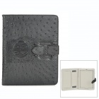 Ostrich Pattern Protective PU Leather Flip Open Case w/ Stand for Ipad - Black