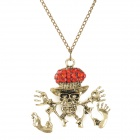 Pirate Skull Style Zine Alloy Pendant Necklace - Bronze + Red