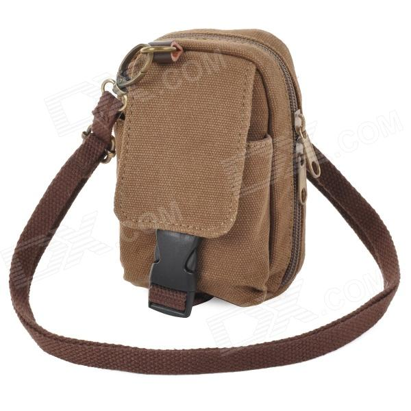 1022 Multifunction Outdoor Canvas Waist /  Shoulder Bag - Coffee