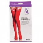 Fashion Sexy Bowknot Stockings - Red + White (Free size)