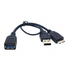 CCY U3-165-BK Micro USB 3.0 Male to USB 3.0 Female OTG Cable w/ External Power for Galaxy Note 3