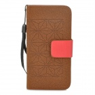 Diamond Pattern Protective PU Leather Case for iPhone 5 - Brown + Red
