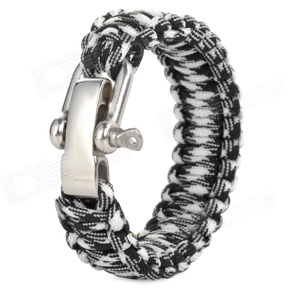 Outdoor Nylon Emergency Survival Rope - Black + White