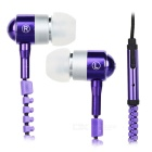 AE-01 Cool Zippered In-Ear Earphone w/ Microphone for Iphone / HTC / Samsung + More - Purple + Black