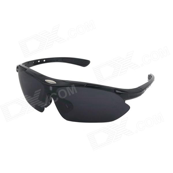 Stylish Men's UV400 Protection Outdoor Cycling Sunglasses - Black