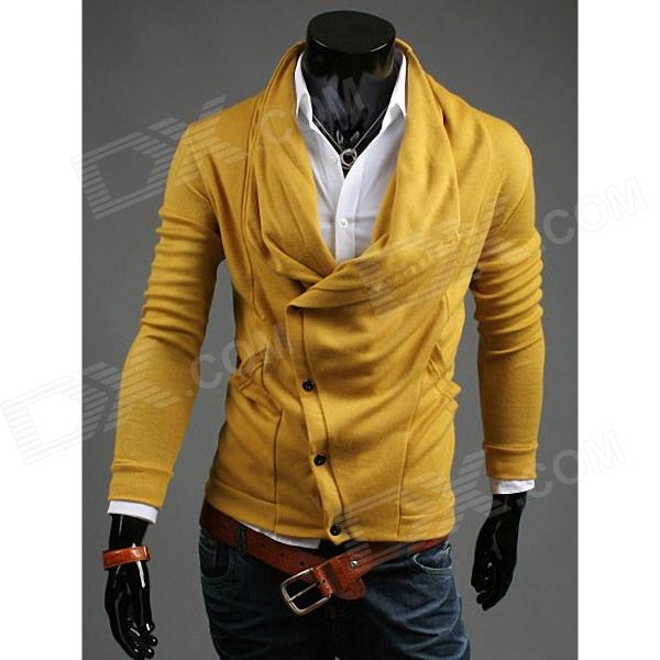 REVERIEUOMO WY30 Fashionable Slim Fit Personality Cardigan - Yellow (Size-L)