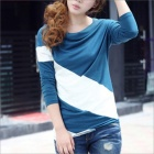 HY9089 Casual Women's Loose Bat Sleeve T-Shirt - White + Blue (Size-L)