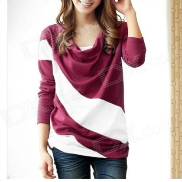 HY9089 Casual Women's Loose Bat Sleeve T-Shirt - Red + Blue (Size-L)