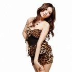 Fashion Sexy Strapless Style Leopard Dress - Black + Brown (Free size)