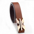 CF225 Fashionable Man Pin Buckle PU Leather Belt - Khaki