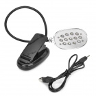 USB Powered 13-LED White Eye-Protection Clip-On Table Light - Black + Silver (3 x AAA)