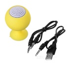 Portable Rechargeable Mini Speaker w/ Suction Cup for Iphone / Ipad - Yellow + White (3.5mm / 5V)