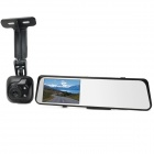 "6000A 1080p 3.0MP + 720P 1.3MP Car DVR Camcorder w/ 4.3"" TFT Rearview Mirror Monitor - Black"
