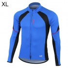 Santic C01012B Bicycle Cycling Long Sleeves Jersey for Men - Blue + Black (Size XL)