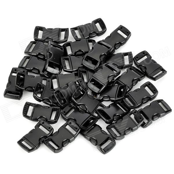 "3/8"" Contoured Curved Side Release Plastic Buckle - Black (30 PCS)"