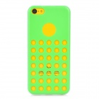 Hollow-Out Round Hole Style Protective Plastic + TPU Back Case for iPhone 5c - Green + White
