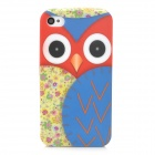 Stylish Cartoon Owl Style Protective TPU Back Case for Iphone 4 / 4S - Red + Blue