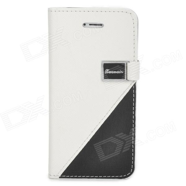 Protective PU Leather + Plastic Case for iPhone 5 - White + Black