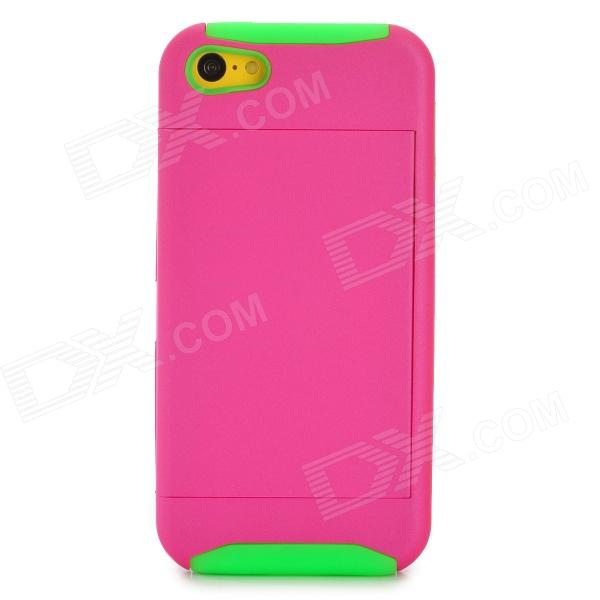 Protective PC + Silicone Back Case for Iphone 5C - Deep Pink + Green stylish bubble pattern protective silicone abs back case front frame case for iphone 4 4s