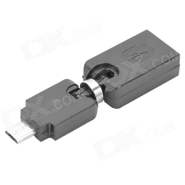 360 graus de rotação Micro USB Male to Female Adaptador USB OTG - Preto