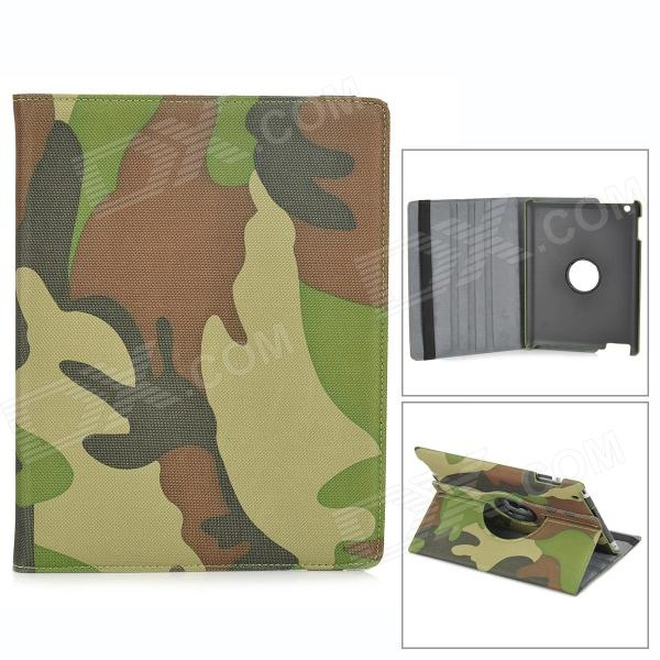 22030110M 360 Degree Rotating Protective Flip Open Case w/ Stand for Ipad 2 / 3 / 4 - Camouflage for apple ipad mini 4 360 hand rotating case pc silicon stand flip cover wake up sleep with stylus black white rose alabasta