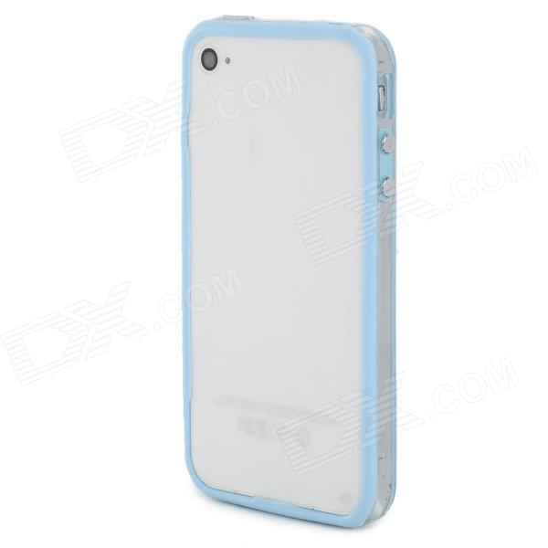 Protective TPU + PC Bumper Frame for Iphone 4 / 4S - Light Blue + Transparent protective tpu   pc bumper frame for lg