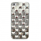 Elegant Checked Style Rhinestone Protective Plastic Back Case for iPhone 5 - Silver