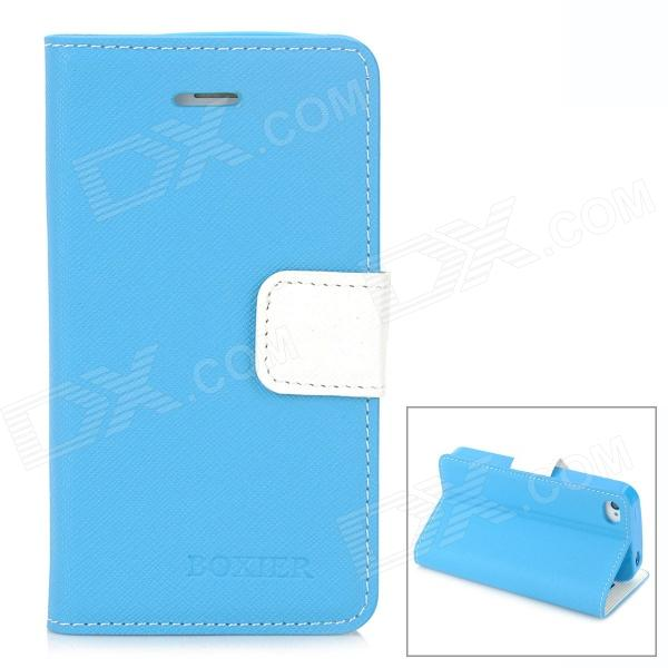 BOXIER LX-BXI4 Protective PU Leather Case w/ Card Holder Slots for Iphone 4 / 4S - Blue + White imprint flower butterfly diamante leather cover card holder for iphone 7 4 7 blue