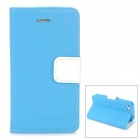 BOXIER LX-BXI4 Protective PU Leather Case w/ Card Holder Slots for Iphone 4 / 4S - Blue + White