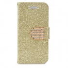 Shining Protective PU Leather Case for Iphone 5 - Golden