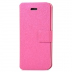 Hairline Pattern Protective PU + ABS Case w/ Stand + Slot for Iphone 5C - Deep Pink