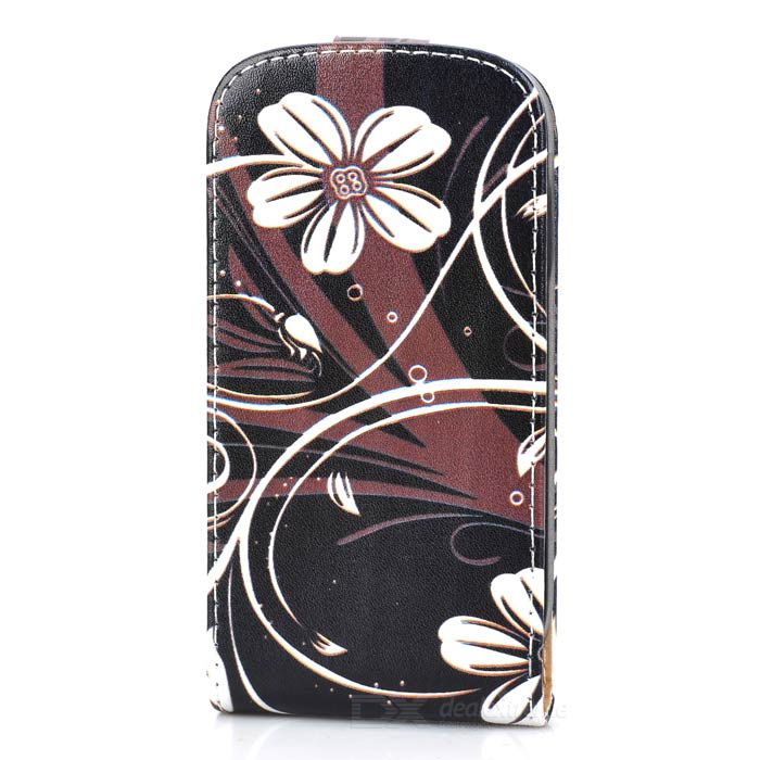 все цены на  Flower Style Protective Flip-Open PU Leather Case for Samsung Galaxy S3 Mini i8190 - Black + White  онлайн