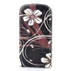 Flower Style Protective Flip-Open PU Leather Case for Samsung Galaxy S3 Mini i8190 - Black + White