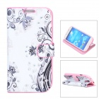 Elegant Flower Style Rhinestone + PU Leather Case for Samsung Galaxy S4 - Black + White + Pink