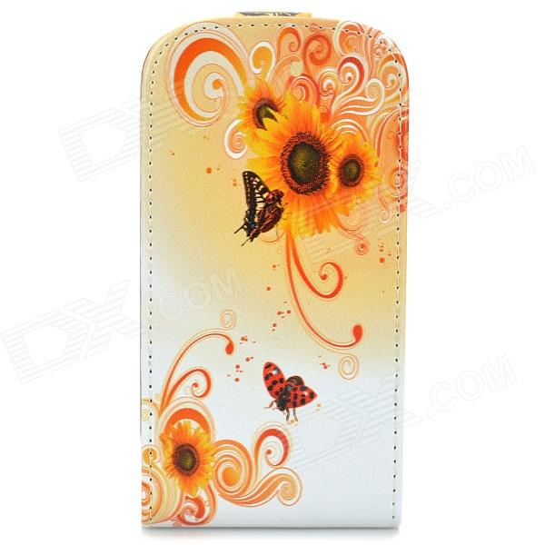 Flower Style Protective Flip-Open PU Leather Case for Samsung Galaxy S3 Mini i8190 - Orange + White alligator pattern protective flip open pu leather case for samsung galaxy note 3 n9000 white