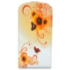 Flower Style Protective Flip-Open PU Leather Case for Samsung Galaxy S3 Mini i8190 - Orange + White