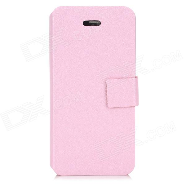Hairline Pattern Protective PU + ABS Flip-Open Case w/ Stand + Slot for Iphone 5C - Light Pink pickogen he 077 uv fisheye macro wide angle camera lens with led for iphone samsung pink