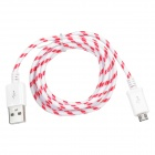 USB to Micro USB Data/Charging Woven Cable for Samsung N7100 / i9500 / HTC - Red + White